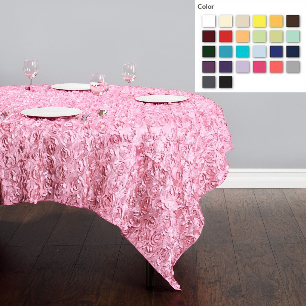 HK DHL Stain Feel 85 inch/216cm Polyester Square Multi Color Polyester Square Rosette Tablecloth for Wedding, 5/Pack