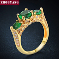 ZHOUYANG Created Emerald Green Ring  Yellow Gold Plated Elegant Jewelry CZ Austrian Crystal Full Size Wholesale ZYR625