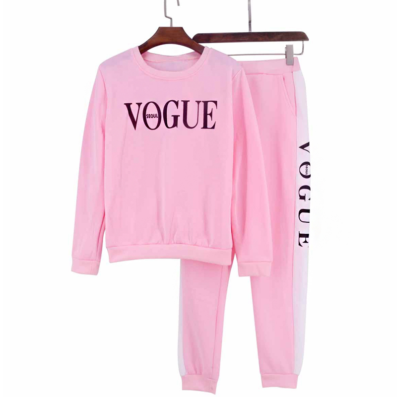 Women Sets VOGUE Letter Print Sweatshirt+Pants 2 Piece Set Autumn Winter Long Sleeve Tracksuits Two Piece Suit Sportswear Outfit
