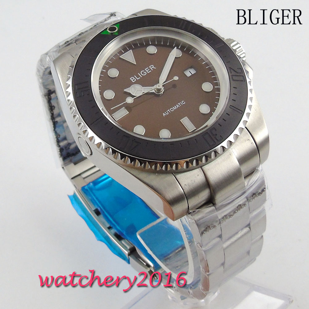 Newest 44mm Bliger Brown Dial Luminous Hands Crystal Bracelet clasp Date Window Automatic Movement Men's Mechanical Wristwatches 44mm bliger gray dial ceramic bezel luminous hands crystal date window automatic movement men s mechanical wristwatches