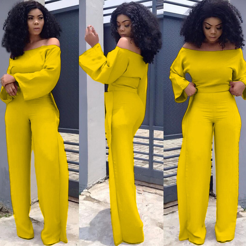 Plus Size Sexy Two Piece Sets Women Slash Neck Flare Sleeve Tops And Ruched Wide Leg Pants Suits Elegent Matching Set Outfits