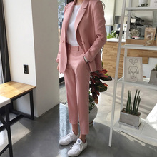 Autumn Pink Outfits 2020 Spring Elegant Two Piece Set Womens Blazer Jacket+Button Trouser Pencil Pant Suit Ladies Work Suit