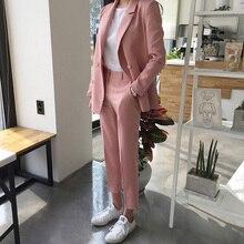 Jesień różowe stroje 2020 wiosna elegancki dwuczęściowy zestaw kobiet żakiet z dzianiny dresowej + przycisk spodni spodnie ołówkowe garnitur panie garnitur do pracy