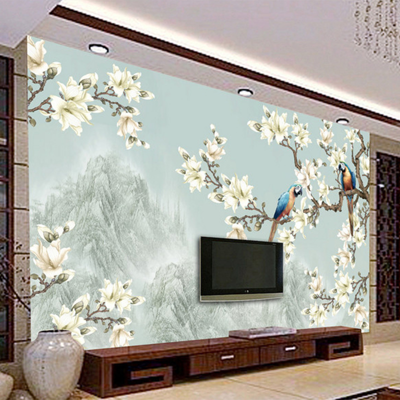 Captivating Chinese Style Simple Elegant Flower Bird Figure 3D Wallpaper Living Room TV  Sofa Study Backdrop Wall Mural Non Woven Home Decor In Wallpapers From Home  ... Part 13