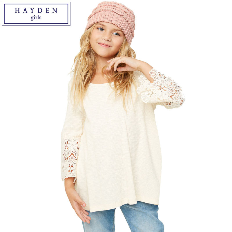 все цены на HAYDEN Girls Lace Bell Sleeve Top Kids Loose Fit Basic Shirt Teen Girls Long Sleeve Solid Color Tee Shirts 2017 Autumn Clothes