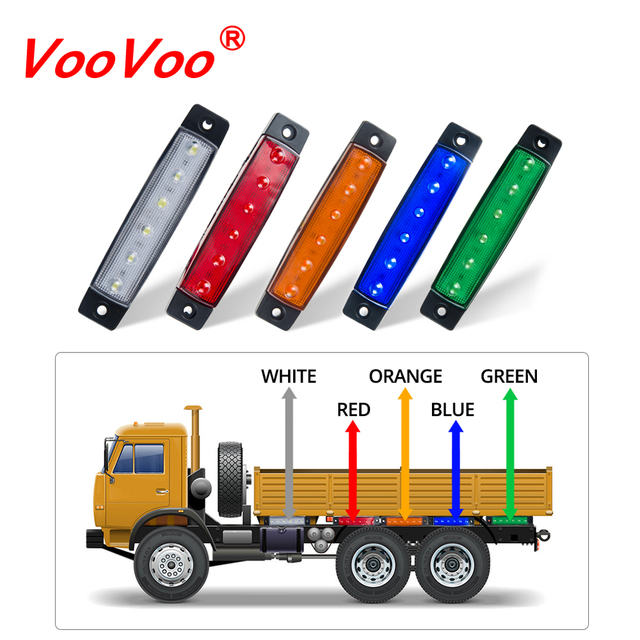 VooVoo Car LED Side Clearance Lamp Tail Reverse Turn Signal Light Truck Trailer Lorry Warning Fog Parking Lighting Bar 12V 24V