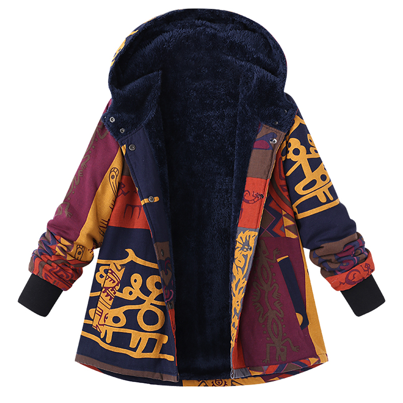 Hot Sale Fleece Lined Thicken Colorful Parka Women Long Sleeve Vintage Floral Printed Outerwear 2018 Winter Warm   Basic     Jackets