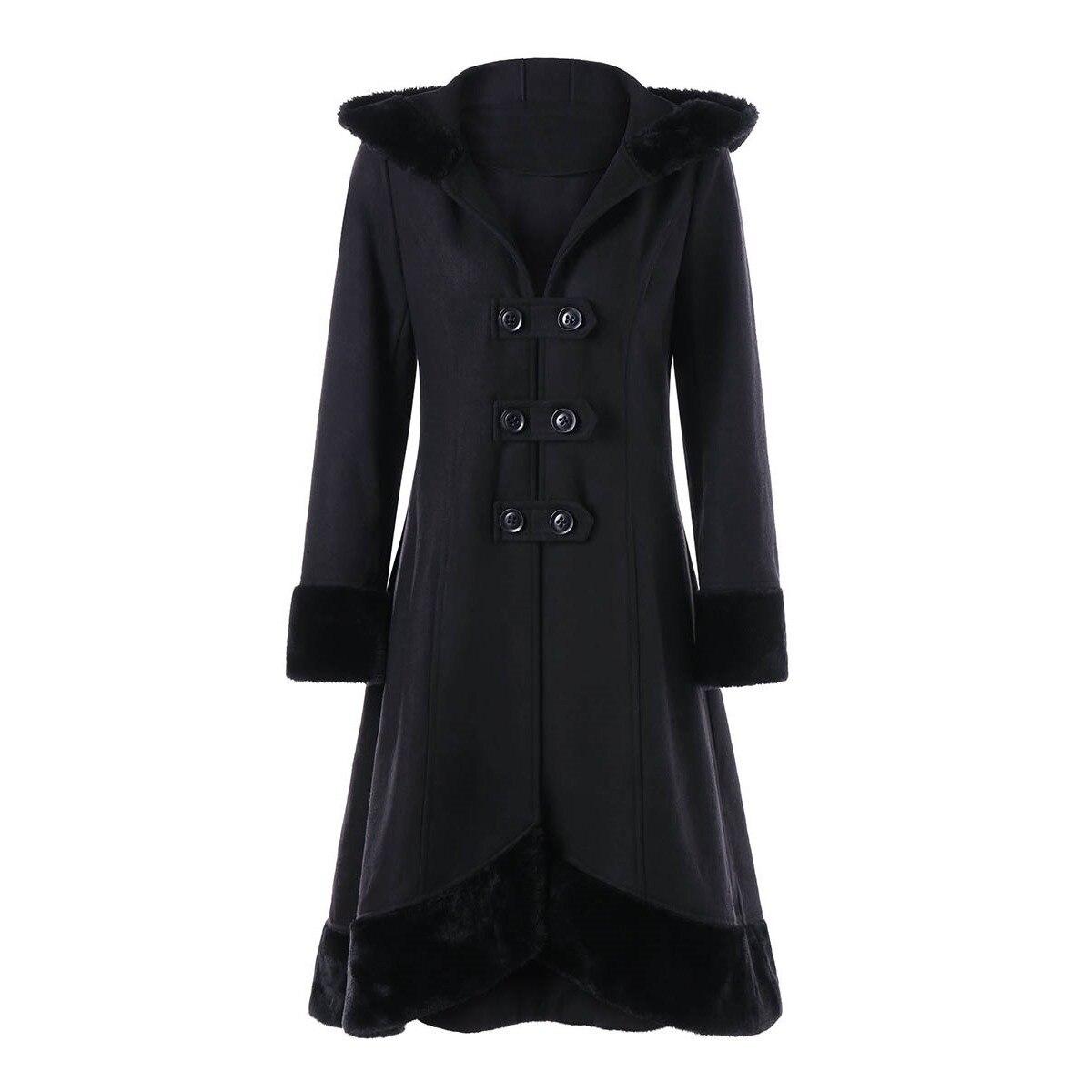 Готический Жeнскaя зимняя кyрткa длинные черные полушерстяные двубортный с меховым капюшоном пояс, теплая верхняя одежда женский офис леди