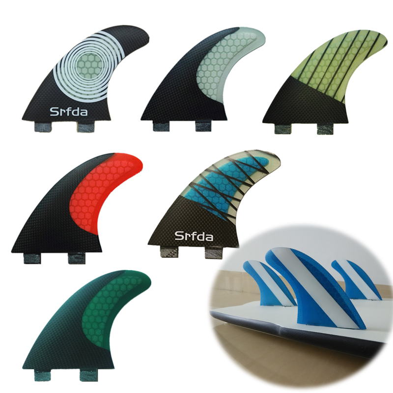 New Colorful 3 pcs FCS G5 Quilhas Keels Surfboard surf fins Fiberglass Honeycomb SUP Long board fin Thrusters A ...