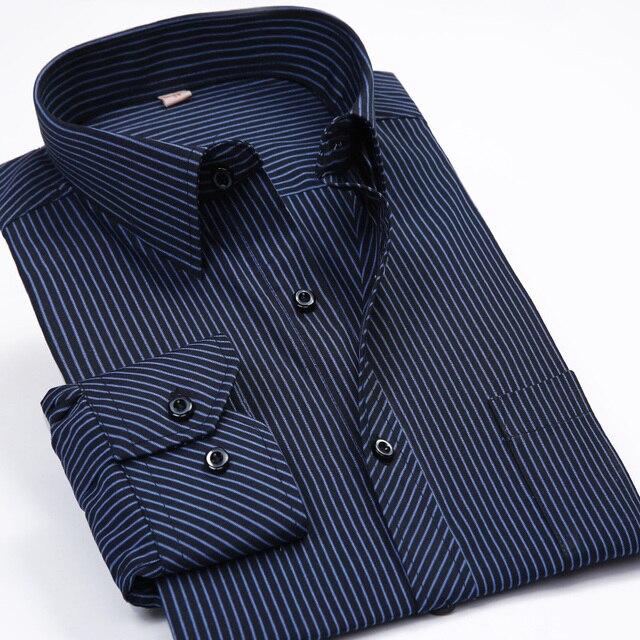 Новые модные 2017 Для мужчин Рубашки для мальчиков мужской в полоску торжественное платье рубашка с длинным рукавом Для мужчин бренда Рубашки домашние муж. большие Размеры нам Размеры 5XL 6XL