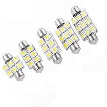 10PCS Festoon Dome 32MM 36MM 39MM 42MM 6 9SMD 5050  White Reading License Plate Lamp led Light Bulb 12V