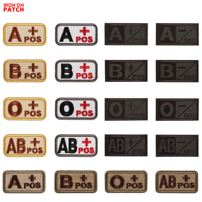 3D Embroidery Blood Type Patch Chapter A+B+AB+O+ Front POS A-B-AB-O Negative NEG Group Tactical Military Badge