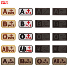 3D Embroidery Blood Type Patch Chapter A+B+AB+O+ Front POS A-B-AB-O Negative NEG Blood Type Patch Group Tactical Military Badge monospecific anti b antibody and abo blood group