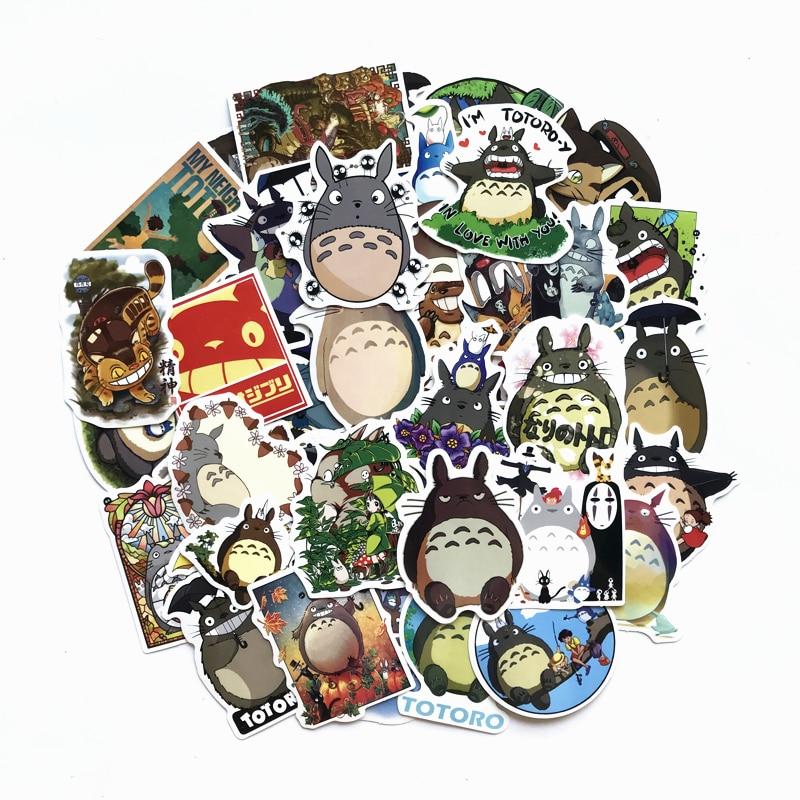 TD ZW 50pcs My Neighbor Totoro Cute Stickers For Snowboard Laptop Luggage Car Fridge DIY Styling Vinyl Home Decor Pegatina