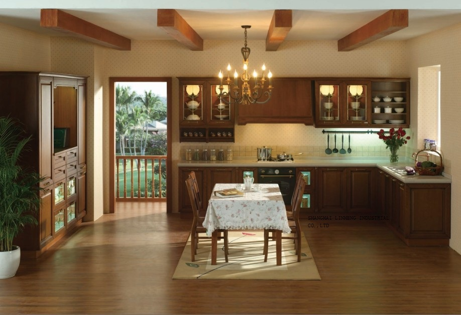 Solid Wood Dark Cherry Wood Kitchen Cabinets(LH SW059)-in Kitchen Cabinets From Home Improvement
