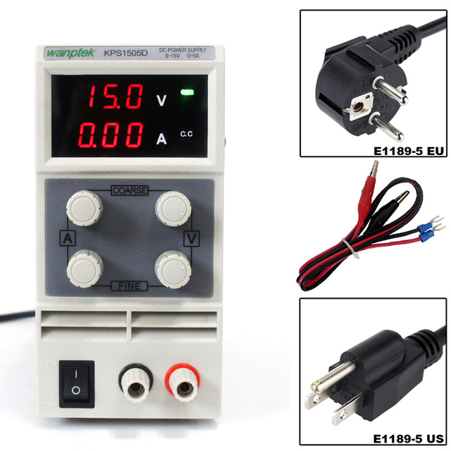 KPS1505D 15V 5A Variable DC Power Supply  Adjustable Switching Regulated Resouce Digital with Alligator Leads lab EquipmentKPS1505D 15V 5A Variable DC Power Supply  Adjustable Switching Regulated Resouce Digital with Alligator Leads lab Equipment