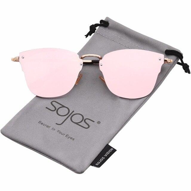 cac2c909a0 SojoS Rimless Square Frame Sunglasses Women Flat Lens Brand Vintage Men Sun  Glasses Oculos Gafas Retro