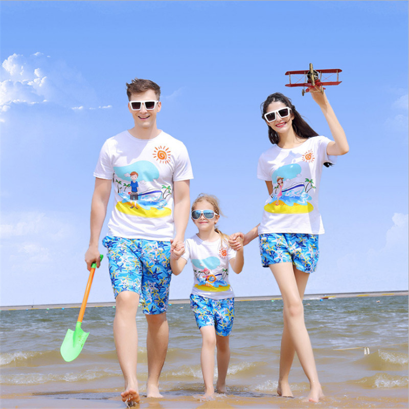 Family Matching Outfits Family Look Family Casual Clothing Set Seaside Travel Family Matching Clothes Mother And Daughter Clothe