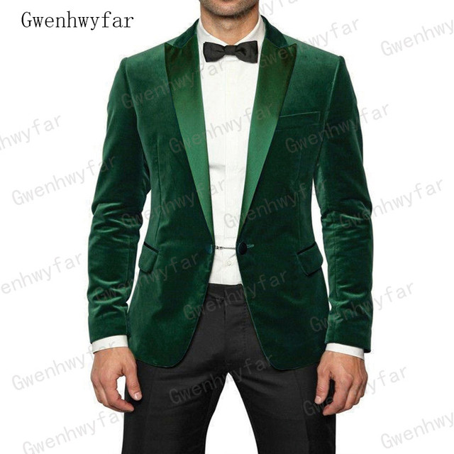7b9d7a589337 Gwenhwyfar Latest Dark Green Velvet Men Suit Slim Fit Custom Made Size  Casual Blazer Mens Party Prom Suits Jacket with Pant 2Pcs