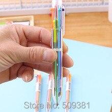 50 개/몫 여러 가지 빛깔의 볼펜, 6 색 볼펜, 어린이와 학생을위한 귀여운 볼펜 선물 펜.