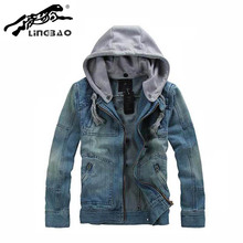 Brand Clothing cusual Mens Classic Hooded Jean Jacket Hoody Coat Outerwear Detachable Cap&men Denim jacket 5XL NB80K
