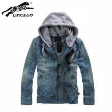 Brand Clothing cusual Mens Classic Hooded Jean Jacket Hoody Coat Outerwear Detachable Cap&men Denim jacket 5XL NB80K