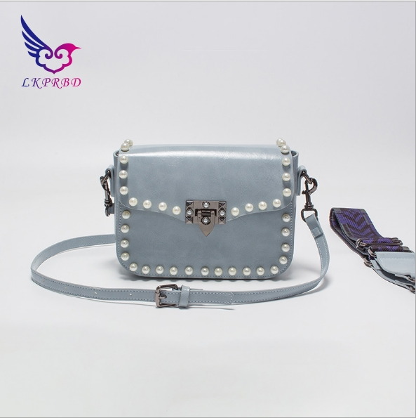 lkprbd 2018 new 100% leather bags are wax leather pearl bean bag all-match Leather Shoulder Messenger Bag small woman thailand tide brand platinum all match female bag stereo flower pearl diamond shoulder bags platinum small bag