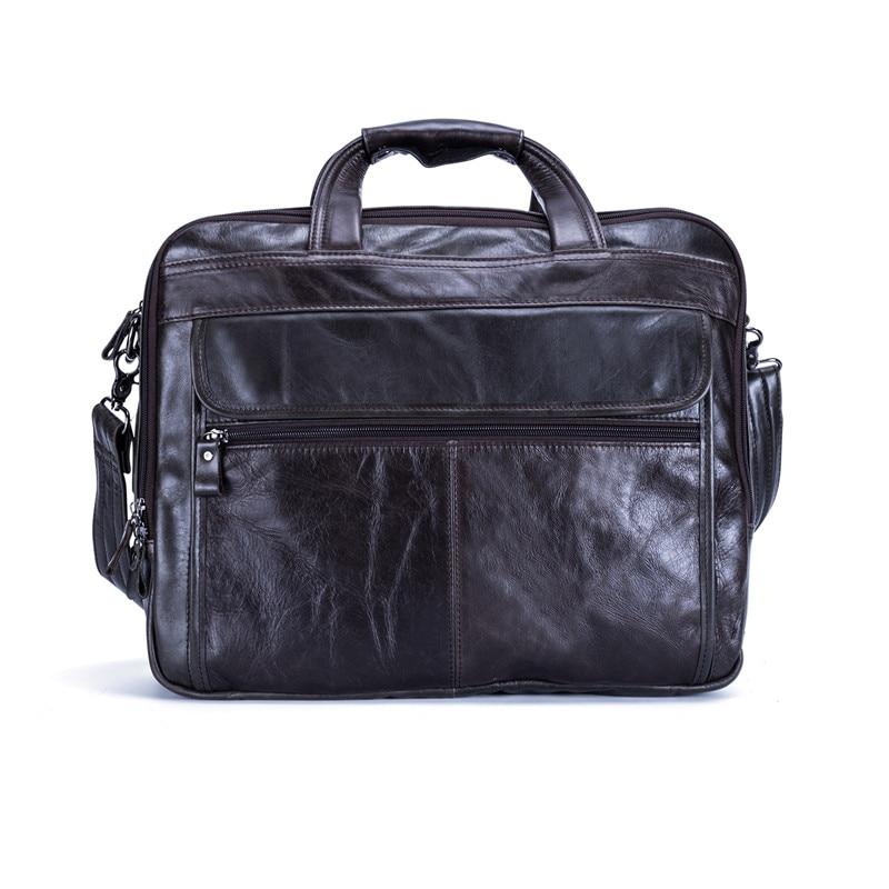 Nesitu Genuine Leather Mens Office Bag Men Briefcase Messenger Bags Business Travel Bag Portfolio 15.6'' Laptop Bag #M9912
