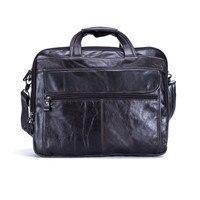 Nesitu Genuine Leather Mens Office Bag Men Briefcase Messenger Bags Business Travel Bag Portfolio 15 6