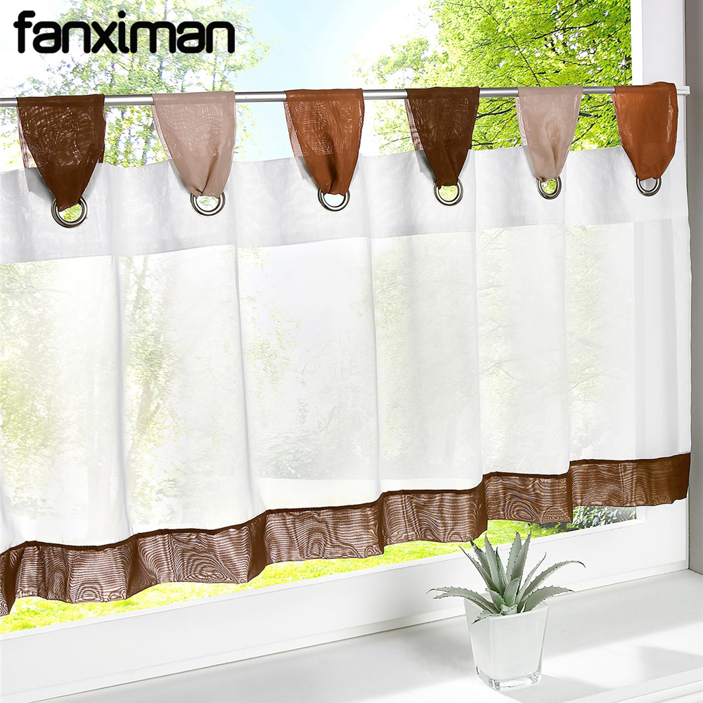US $6.74 28% OFF|Sheer Curtains for the kitchen Small Short Kitchen  Curtains Pastoral Sheers Window Blinds Solid Color Various Sizes Tab Top 1  PC-in ...