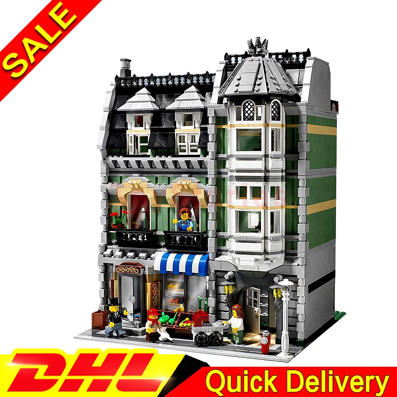 LEPIN 15008 2462Pcs City Street Green Grocer Model Building Kit Set Blocks Bricks Toy Gift legoings toys Clone 10185 dhl lepin15008 2462pcs city street green grocer model building kits blocks bricks compatible educational toy 10185 children gift