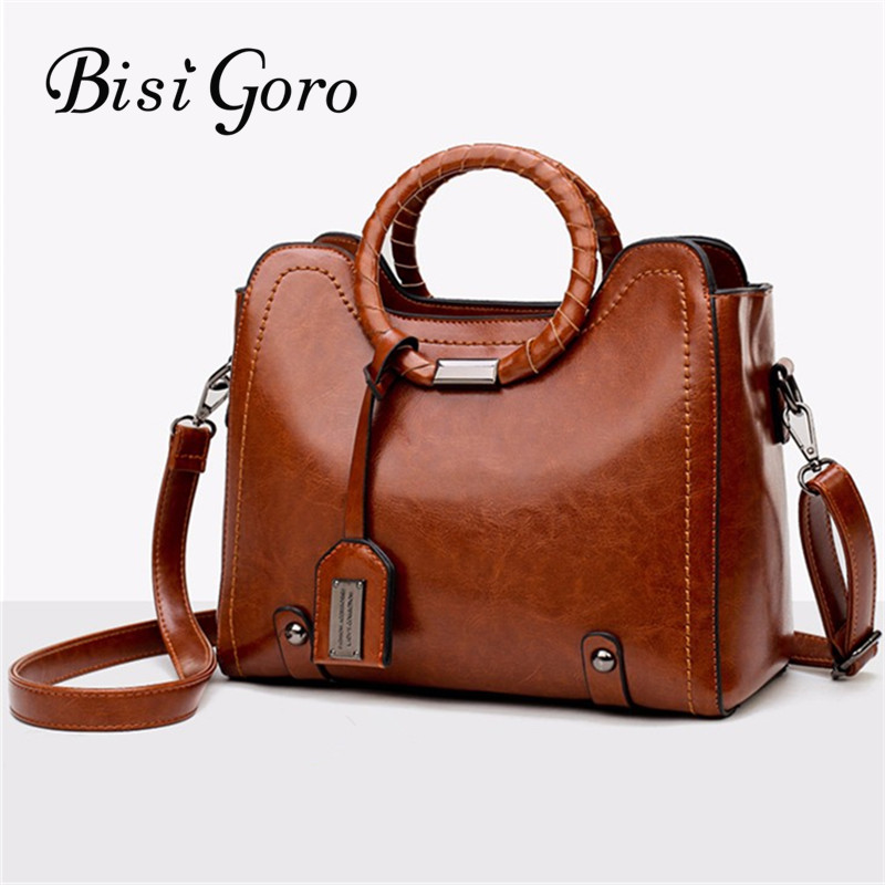 Bisi Goro 2018 Oil Wax Women Handbags Tree Branches Metal Decor Handbags Lady Shoulder C ...