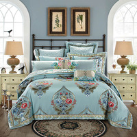 Luxury Stain bed linens set with Pillow Cases Bedspreads Queen King Size European jacquard Set 4pcs/9pcs bedding set