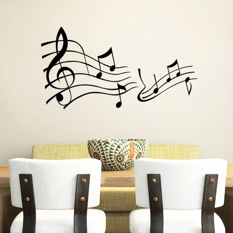 musical notes vinyl wall decals for living room bedroom diy wall art ...