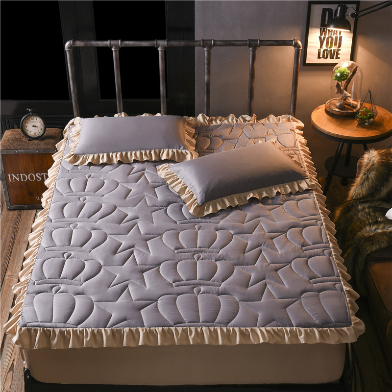 Cotton Ruffle quilted fitted sheet cover mattress pillowcases-3pcsCotton Ruffle quilted fitted sheet cover mattress pillowcases-3pcs