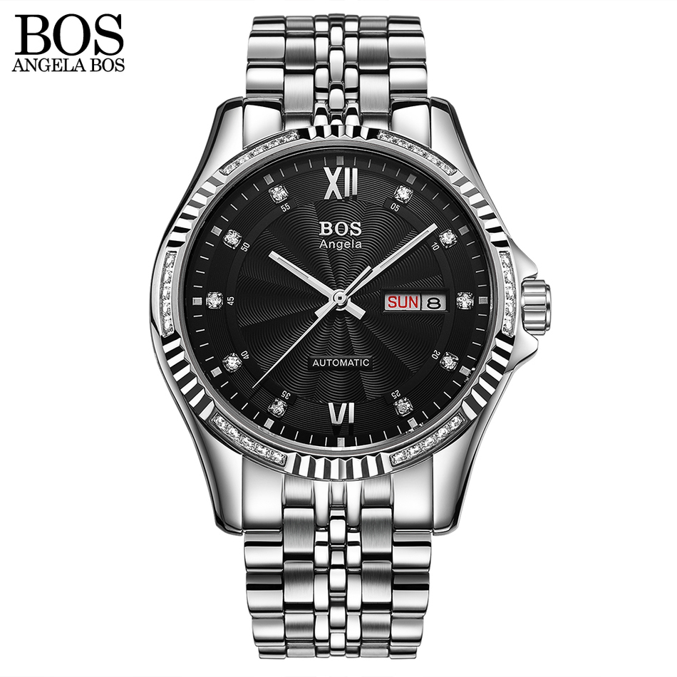 ANGELA BOS Automatic Watch Mens Mechanical Black Stainless Steel Luminous Calendar Date Waterproof Luxury Watch Men Famous Brand angela bos ceramics stainless steel skeleton automatic watch mens mechanical waterproof date week luminous wrist watches men