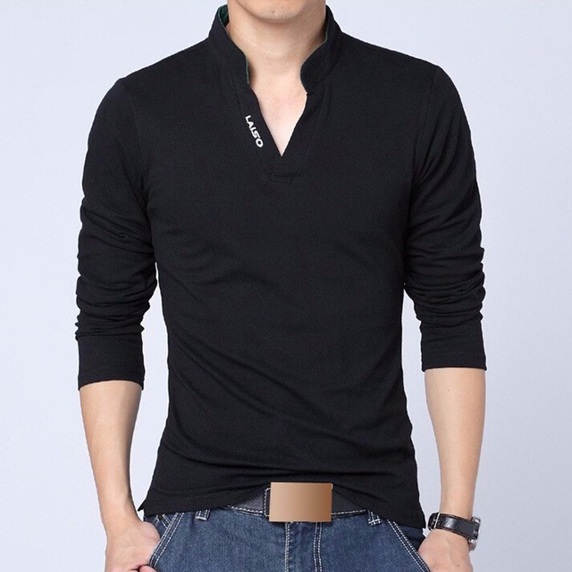 38b095f361b9f Men Polo Shirt Mens Long Sleeve Solid Polo Shirts Camisa Polos male Casual  cotton Plus size