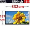150 polegada 16:9 branco dobrar fibra suave cortina ao ar livre portátil HD tela de projeção 3D de 3.32 metros x 1.87 metros frete grátis