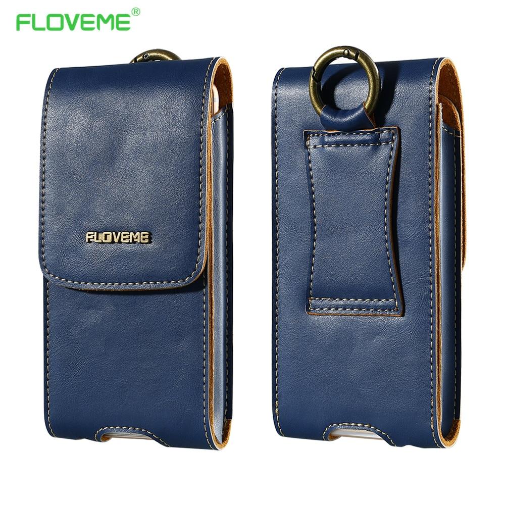 FLOVEME Genuine Leather Waist Pouch Wallet Case For iPhone 7 6 6S Plus 7 5S SE