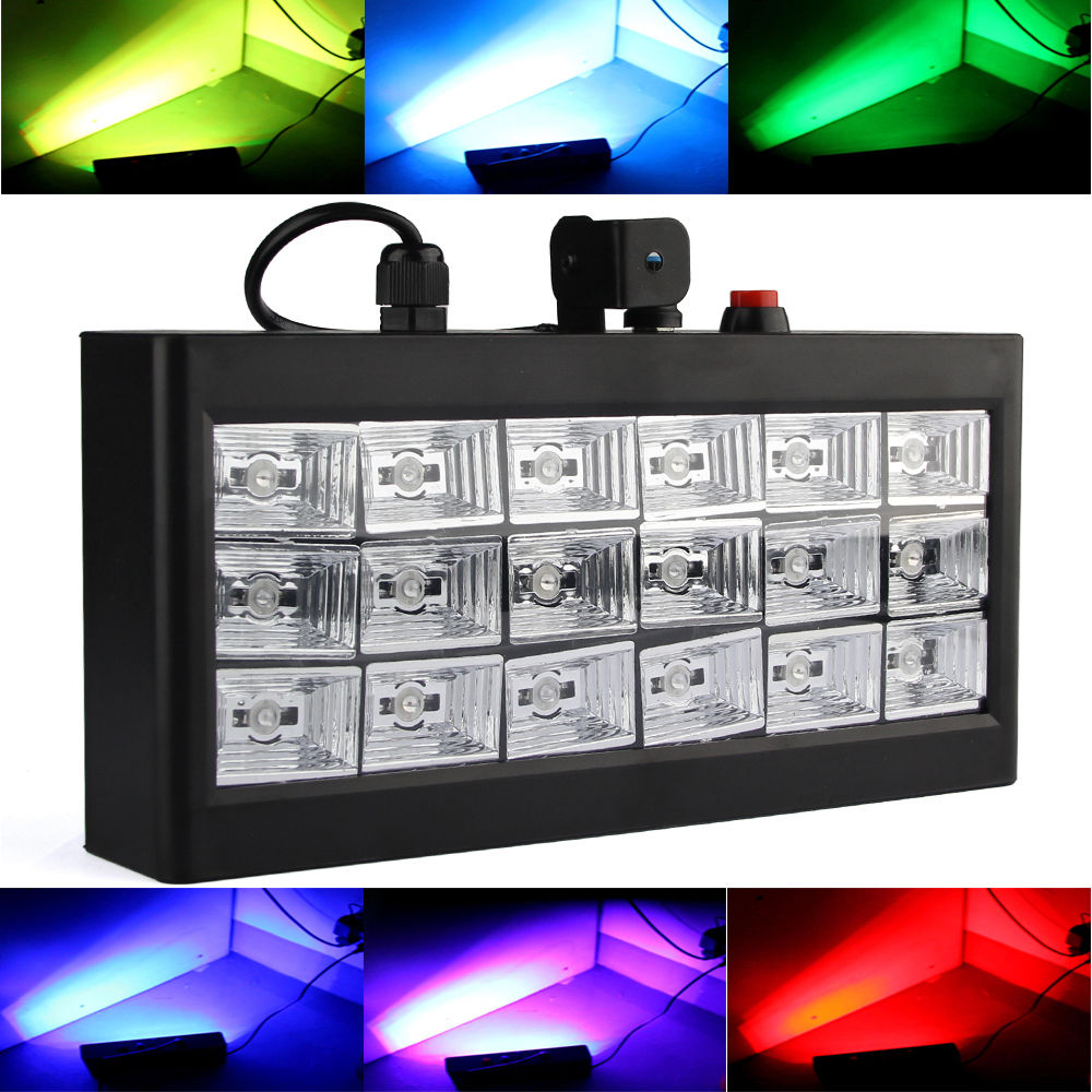 AOBO Lighting Sound Auto Speed adjustable Led Stage DJ Lights 18pcs RGB Strobe Ball Disco Flash Light Club Party Stage Effects mini rgb led party disco club dj light crystal magic ball effect stage lighting