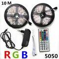 RGB Tira CONDUZIDA Luz 5050 10 M 5 M conduziu a luz de 30 LEDs/M Flexível Leds rgb diodo fita fita tira 44key IR Controlador dc 12 V adaptador