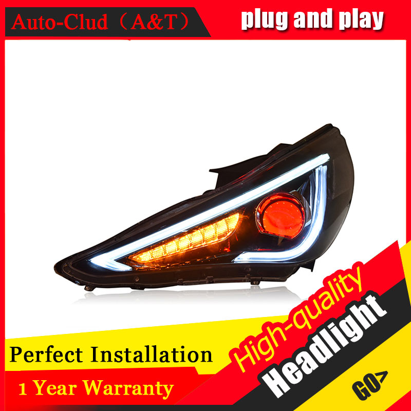 Auto Clud Car Styling For Hyundai Sonata headlights 11-15 For Sonata head lamp led DRL front Bi-Xenon Lens Double Beam HID KIT for hyundai sonata nf front oxygen sensor 39210 25300