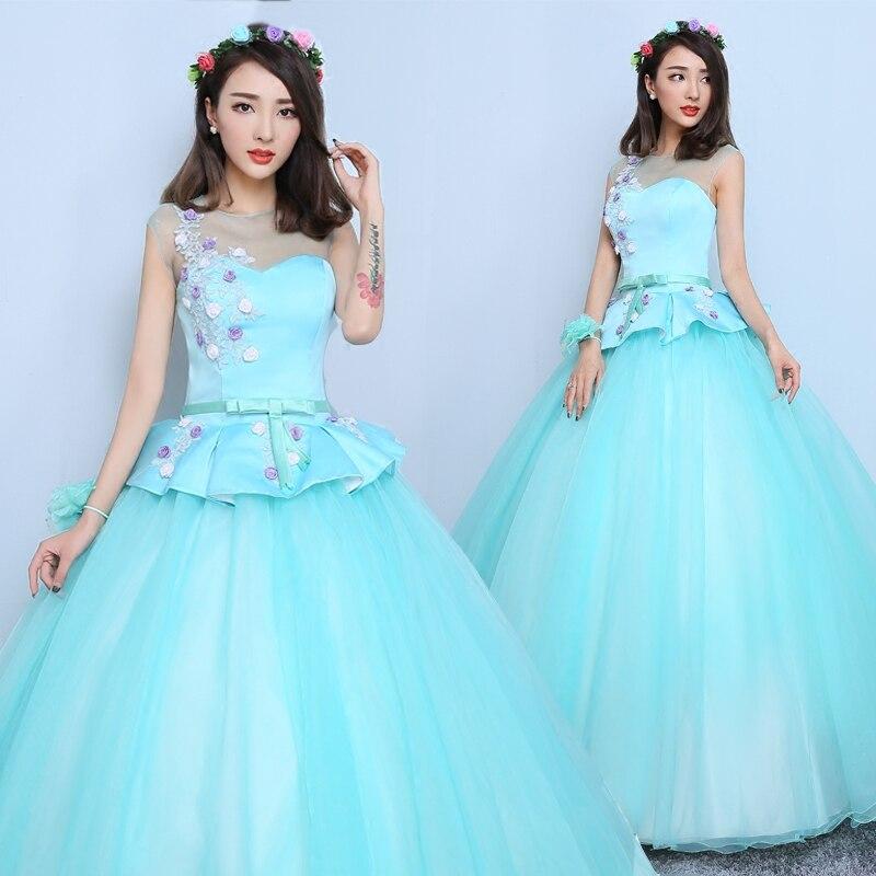 Светло-голубой цвет фата плеча цветок средневековой нарядное платье siss принцесса платье королева Косплэй викторианской Belle мяч