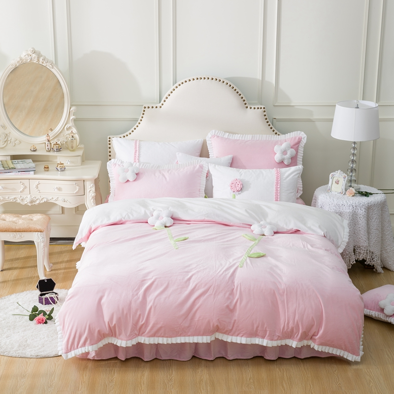 3D flores applique Bordado Ropa de cama conjuntos 4 unids reina king ...