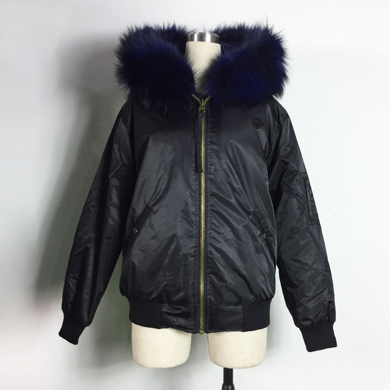 Black Bombers Dark Blue Faux Fur Winter And Spring Bomber Jacket Unisex style