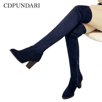CDPUNDARI Высокий каблук Сапоги выше колена женские облегающие Ботинки женские ботфорты botas mujer bottine femme