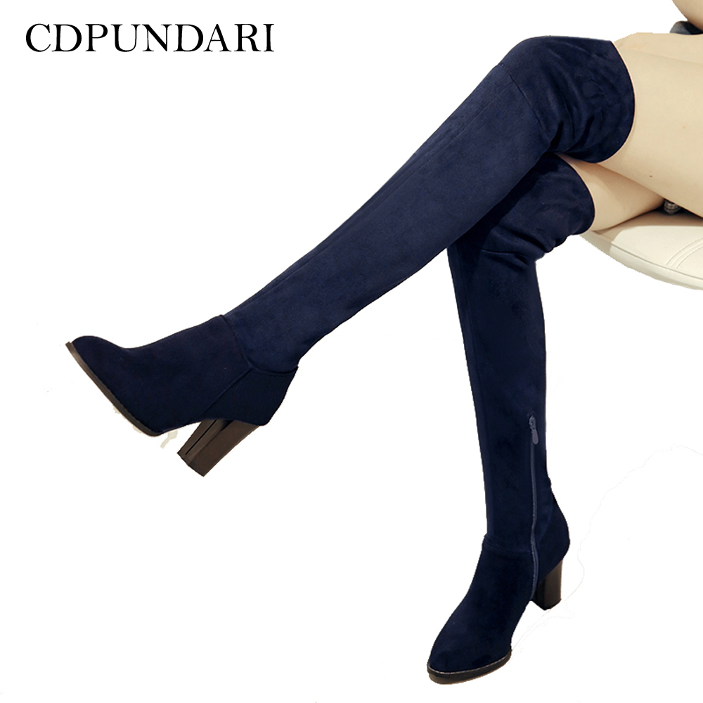 CDPUNDARI High heel over the knee boots women thigh high boots shoes woman knee high boots botas mujer bottine femme 2017 new winter arrival long boots for women over the knee thigh boots high heel flock shoes club boots botas mujer femininas