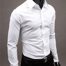 Cotton Men's Dress Shirts Long Sleeve Shirt Korean Fashion S