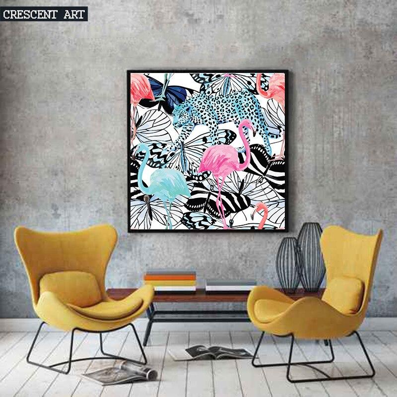 Aliexpress 2017 Pop Art Wanddekoration Wildlife Poster Flamingo Bild Tropical Print Leinwand Leopard Kunst Schmetterling Wohnzimmer Wohnkultur Von