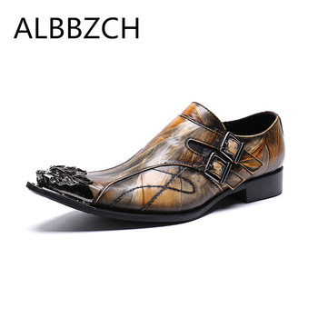 New mens genuine leather retro wedding shoes men mental pointed toe slip on dress shoes fashion buckle design career work shoes